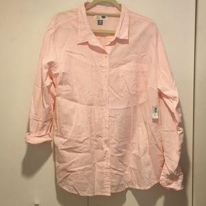 Old Navy classic pink chambray cotton shirt XXL